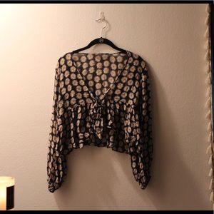 Boho sheer floral Plunge-neck tie blouse